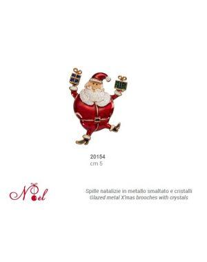 Spilla di Natale in metallo smaltato e cristalli